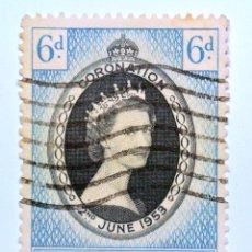 Sellos: SELLO POSTAL BAHAMAS 1953 , 6 D ,CORONACION REINA ELIZABETH II , USADO. Lote 150803478
