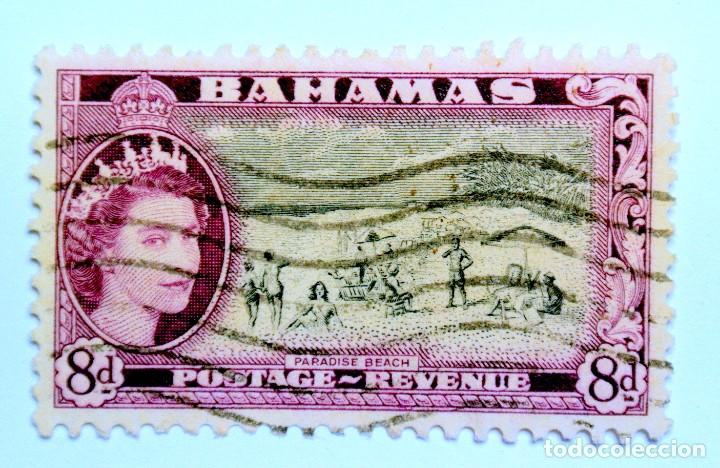 SELLO POSTAL BAHAMAS 1954 , 8 D , PLAYA PARAISO, USADO (Sellos - Extranjero - América - Otros paises)