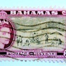 Sellos: SELLO POSTAL BAHAMAS 1954 , 8 D , PLAYA PARAISO, USADO. Lote 150808218
