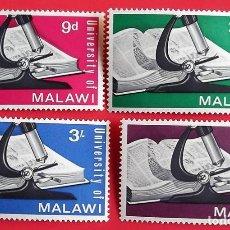 Sellos: MALAWI. 33/36 INAUGURACIÓN DE LA UNIVERSIDAD: LIBRO Y MICROSCOPIO. 1965. SELLOS NUEVOS CON SEÑAL DE. Lote 150714429