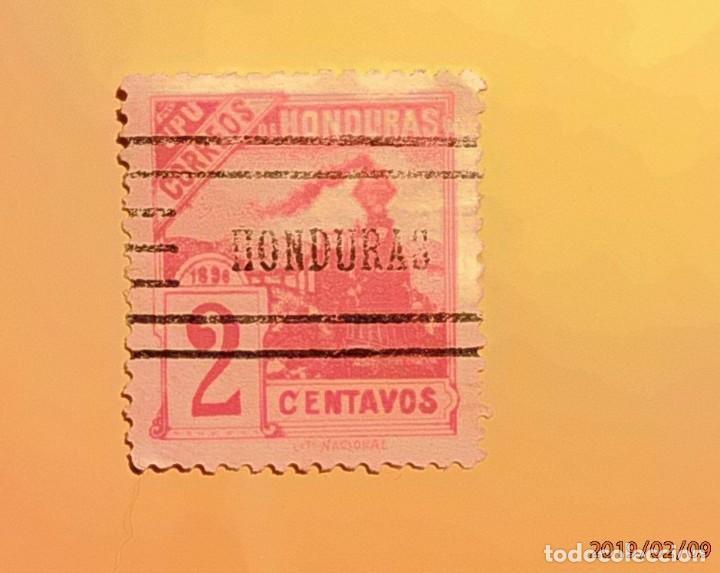 HONDURAS - UPU - TRENES - TREN DE VAPOR - 2 CENTAVOS. MATASELLO HONDURAS - RARO. (Sellos - Extranjero - América - Otros paises)