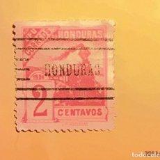 Sellos: HONDURAS - UPU - TRENES - TREN DE VAPOR - 2 CENTAVOS. MATASELLO HONDURAS - RARO.. Lote 151190506