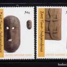Sellos: NACIONES UNIDAS NEW YORK 876/77** - AÑO 2002 - INDEPENDENCIA DE TIMOR ORIENTAL - ARTESANIA. Lote 151824290