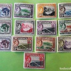 Sellos: DOMINICA. 92/102, 104/05 SERIE BÁSICA. JORGE VI: LAGO DE AGUA DULCE, RÍO LAYOU, RECOGIDA DE LIMONES,. Lote 151960550