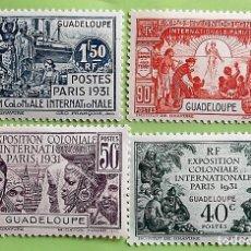 Sellos: GUADALUPE. 123/26 EXPOSICIÓN COLONIAL DE PARÍS. TIPOS DE CAMERÚN. 1931. SELLOS NUEVOS CON SEÑAL DE C. Lote 151960554