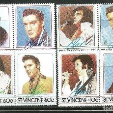 Sellos: SAN VICENTE 1985 IVERT 870/7 *** HOMENAJE AL CANTANTE ELVIS PRESLEY - MÚSICA ROCK. Lote 156275370