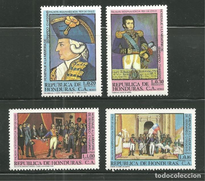 HONDURAS 1981 AEREO IVERT 657/60 *** HOMENAJE A BERNARDO O'HIGGINS LIBERADOR DE CHILE - PINTURA (Sellos - Extranjero - América - Otros paises)