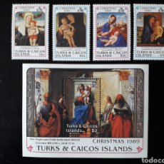 Sellos: TURKS & CAICOS. YVERT 816/9 + HB-81 SERIE COMPLETA NUEVA *** NAVIDAD. PINTURAS. GIOVANNI BELLINI.. Lote 156457681