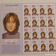 Sellos: HOJA COMPLETA 16 SELLOS JOHN LENNON BEATLES DE ANTIGUA BARBUDA 45C. Lote 156458118