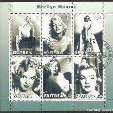 Sellos: ERITREA - MARILYN MONREO - BLOQUE RARO - TIENE EN LA PARTE ANTERIOR EL ADHESIVO ORIGINAL. Lote 157506602
