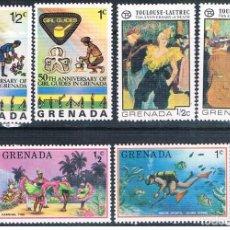 Sellos: GRENADA 1976 - YVERT 653 / 54 + 674 / 75 + 680 / 81 ( ** ). Lote 159789742