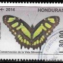 Sellos: HONDURAS 2014. CONSERVACIÓN DE LA NATURALEZA. MARIPOSAS. 30L. Lote 160500058