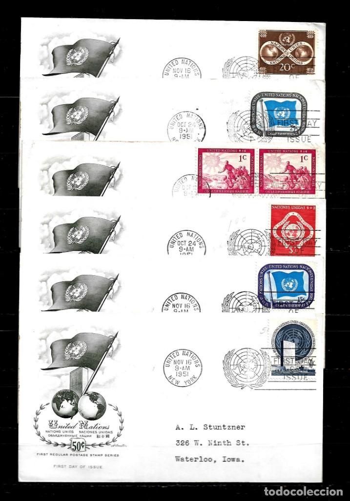 Sellos: Naciones unidas 1951 oficina de Nueva york lote de 12 sobres primer dia - Foto 2 - 160979918