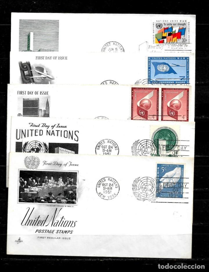 NACIONES UNIDAS OFICINA DE NUEVA YORK AÑOS 50 Y 60 LOTE DE 10 SOBRES PRIMER DIA DIFERENTES (Sellos - Extranjero - América - Otros paises)