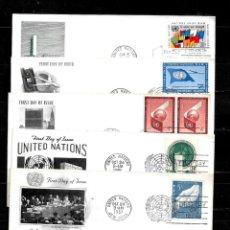Sellos: NACIONES UNIDAS OFICINA DE NUEVA YORK AÑOS 50 Y 60 LOTE DE 10 SOBRES PRIMER DIA DIFERENTES . Lote 160980650