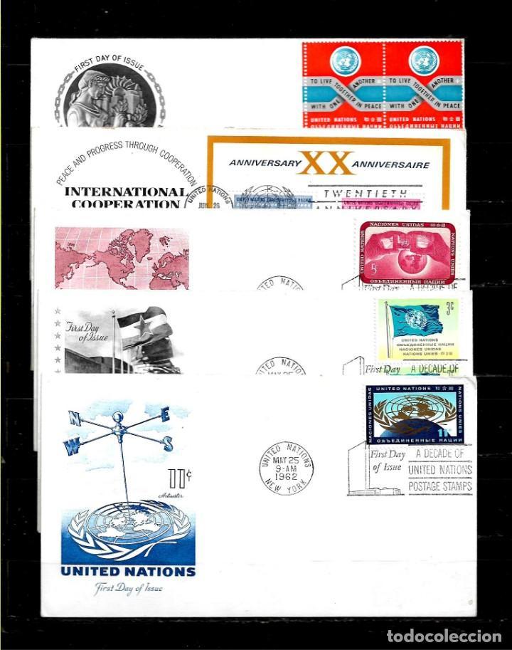 Sellos: Naciones Unidas oficina de Nueva York años 50 y 60 lote de 10 sobres primer dia diferentes - Foto 2 - 160980650