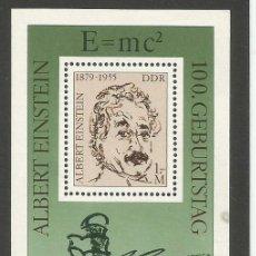 Sellos: ALEMANIA - RDA - DDR - 1979 - 100 ANIV. DE NACIMIENTO DE ALBERT EINSTEIN - BLOQUE NUEVO. Lote 218706025