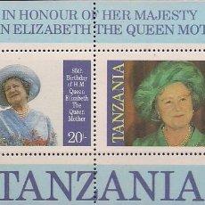 Sellos: TANZANIA - 85 CUMPLEAÑOS DE LA MADRE DE REINA ELISABETH II - BLOQUE NUEVO CON GOMA. Lote 164207418