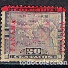 Sellos: PANAMA Nº 117, SEA AMBOS LADOS, LLO DE COLOMBIA CON MAPA SOBRECARGADO PANAMA EN ROJO, USADO. Lote 164547954