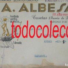 Sellos: GUERRA CIVIL CASETAS ZARAGOZA 1938 FARMACIA ALBESA. ANTIGUO SOBRE CON PUBLICIDAD. Lote 167037476