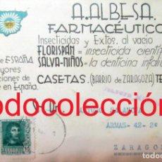 Sellos: GUERRA CIVIL CASETAS ZARAGOZA 1938 FARMACIA ALBESA. ANTIGUA TARJETA CON PUBLICIDAD. Lote 167037700
