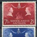 Sellos: ANTILLAS HOLANDESAS 1955 IVERT 241/42 * VIAJE DE LA REINA JULIANA Y EL PRINCIPE BERNHARD. Lote 168177688