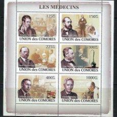 Sellos: COMORES 2009 IVERT 1375/80 *** PERSONAJES CÉLEBRES - MEDICINA. Lote 169945596