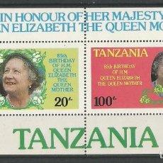 Sellos: TANZANIA - 85 CUMPLEAÑOS DE LA MADRE DE REINA ELISABETH II - BLOQUE 2 - NUEVO CON GOMA ORIGINAL. Lote 170202476