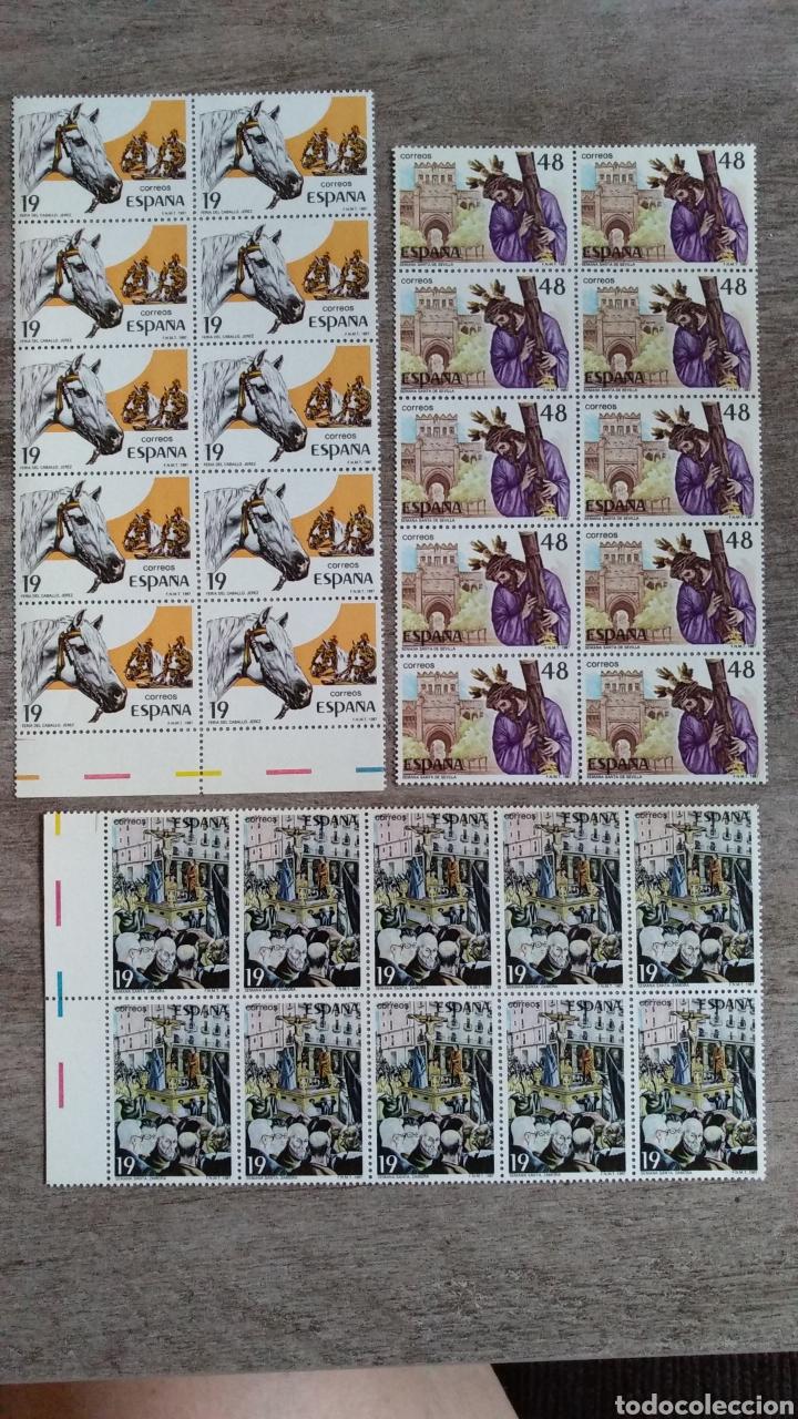 Sellos: 3 Mini pliegos de 10 Sellos ESPAÑA 19 y 48 pts. Feria Caballo Jerez y Semana Santa Zamora y Sevilla - Foto 2 - 170236457