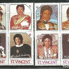 Sellos: SAN VICENTE 1985 IVERT 890/7 *** HOMENAJE AL CANTANTE MICHAEL JACKSON - MÚSICA. Lote 170917725