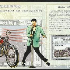 Sellos: HOJA BLOQUE DE SELLOS LEYENDAS DE LA MUSICA- EL REY DEL ROCK: ELVIS PRESLEY - MOTO HARLEY DAVIDSON . Lote 172089943