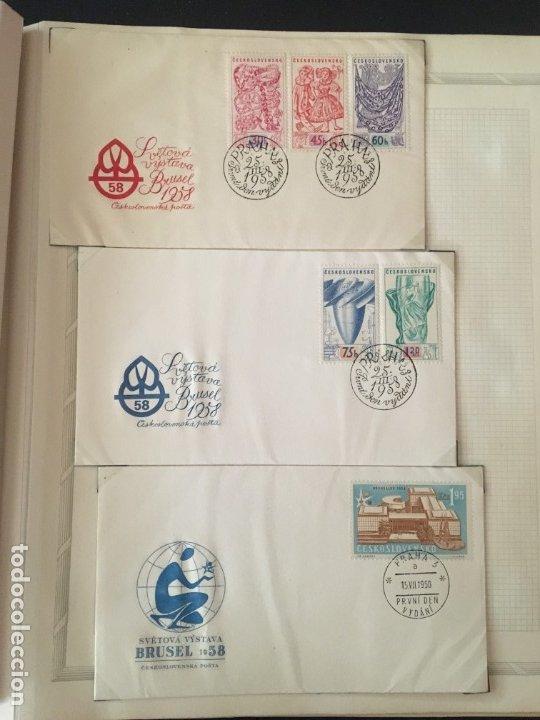Sellos: EXPOSICIÓN DE BRUSELAS 1958, COLECCIÓN DE SOBRES PRIMER DÍA Y HOJAS BLOQUE DE DISTINTOS PAISES. - Foto 11 - 173157915