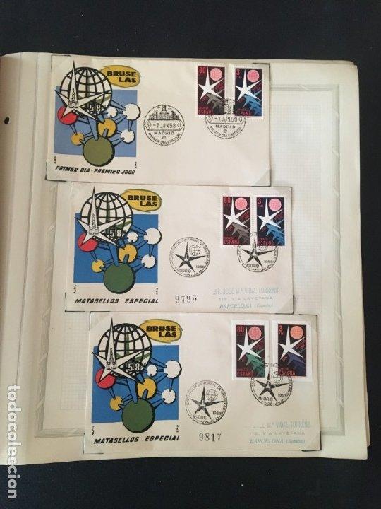 Sellos: EXPOSICIÓN DE BRUSELAS 1958, COLECCIÓN DE SOBRES PRIMER DÍA Y HOJAS BLOQUE DE DISTINTOS PAISES. - Foto 27 - 173157915