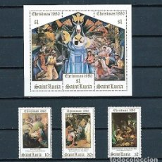 Sellos: SANTA LUCÍA,1980,NAVIDAD,YVERT 523-525 Y HB 19,NUEVOS,MNH**. Lote 179538138