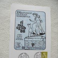 Sellos: SOBRE. XXI EXPOSICION FILATELICA NUMISMATICA. FINUSGAB 88. BARCELONA. VER SELLO. Lote 181165680