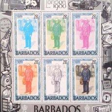 Sellos: BARBADOS. HB 14 UNIFORME DEL PRIMER CARTERO. FASES DE IMPRESIÓN. 1980. SELLOS NUEVOS Y NUMERACIÓN YV. Lote 182238585