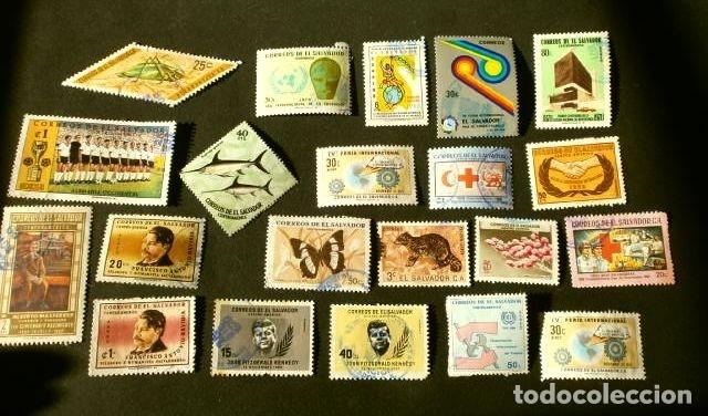 Sellos: EL SALVADOR - LOTE 35 SELLOS USADOS AÑOS 70 y 80 (10 PEGADOS EN SOBRES) - Foto 2 - 182287977
