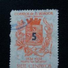 Sellos: CORREO, EL SALVADOR, 7 CENTS, NUEVA SAN SALVADOR,1954, . Lote 183020150