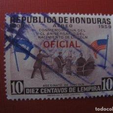 Sellos: HONDURAS 1959, 150 ANIV.NACIMIENTO DE ABRAHAM LINCOLN, SELLO SOBRECARGADO YVERT 73 SERVICIO . Lote 183364020
