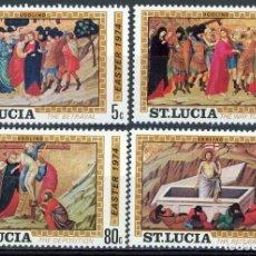 Sellos: SANTA LUCIA 1974 IVERT 350/3 *** LA PASCUA - PINTURA RELIGIOSA - CUADROS DE UGOLINO DE SIENA. Lote 183920568