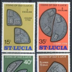 Sellos: SANTA LUCIA 1974 IVERT 354/7 *** MONEDAS ANTIGUAS. Lote 183920801