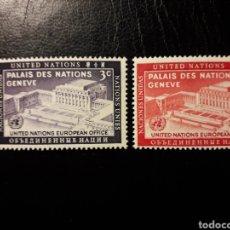 Sellos: NACIONES UNIDAS. NUEVA YORK. YVERT 25/6. SERIE COMPLETA NUEVA SIN CHARNELA. SEDE ONU EN GINEBRA. Lote 183965758
