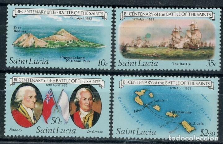 SANTA LUCIA 1982 IVERT 567/70 *** BICENTENARIO BATALLA DE LOS SANTOS - FLOTA INGLESA Y FRANCESA (Sellos - Extranjero - América - Otros paises)