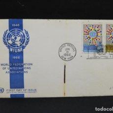 Sellos: SOBRE PRIMER DIA. AMERICA. ESTADOS UNIDOS. WORLD FEDERATION OF UNITED NATIONS ASSOCIATIONS. 1966.. Lote 185675661