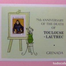 Sellos: GRENADA 1976 75 ANIVERSARIO DE LA MUERTE DE TOULOUSE-LAUTREC YVERT BLOC 53 ** MNH. Lote 186439683