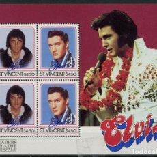 Sellos: SAN VICENTE 1985 HB *** HOMENAJE AL CANTANTE ELVIS PRESLEY - MÚSICA ROCK. Lote 186858372