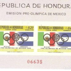 Sellos: HOJITA HONDURAS,1968,CAT.MI.BL 10,NUEVA,GOMA ORIGINAL,SIN FIJASELLOS,NUMERACION ANVERSO.. Lote 187220108