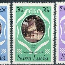 Sellos: SANTA LUCIA 1981 IVERT 533/5 *** BODA REAL DEL PRINCIPE CARLOS Y LADY DIANA SPENCER (II). Lote 187328687