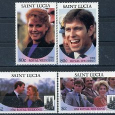 Sellos: SANTA LUCIA 1986 IVERT 821/4 *** BODA DEL PRINCIPE ANDREW Y MISS SARAH FERGUSON (I). Lote 187604662
