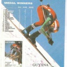 Sellos: HOJITA GUYANA,1989,NUEVA,GOMA ORIGINAL,SIN FIJASELLOS,JJOO INVIERNO CALGARY.. Lote 188431930